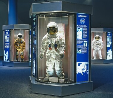 Astronauts outfits on display at the Space Center Houston, Texas