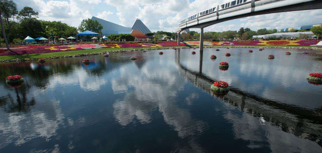 Monorail over flower fields