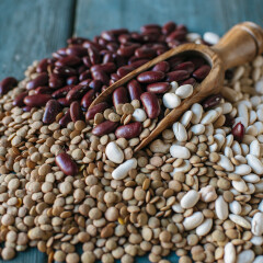 Lentils, red and white beans on blue wood