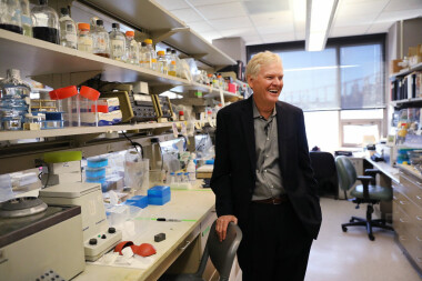 NEW YORK, NY - OCTOBER 02:  Rockefeller University biologist Michael Young stands in his lab after winning the Nobel Prize in Physiology or Medicine on October 2, 2017 in New York City. Young discovered the molecular mechanism of circadian rhythm, which governs biological clocks that regulate sleep, eating behavior, and metabolism.  (Photo by Spencer Platt/Getty Images)