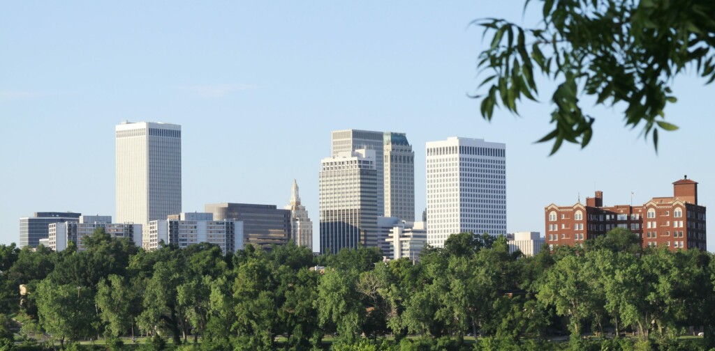 Photographed from the west bank of the Arkansas River is downtown Tulsa, Oklahoma.